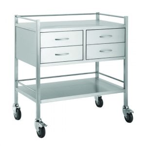 TITAN Stainless Steel Trolleys Double - 4 drawer