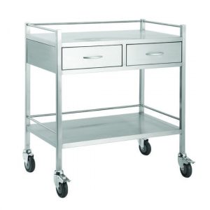 TITAN Stainless Steel Trolleys Double - 2 drawer (Side-By-Side)
