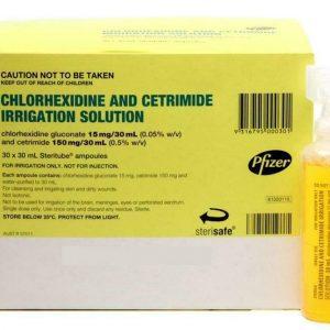 30 x Pfizer Chlorhexidine and Cetrimide Irrigation Solution 30ml tubes